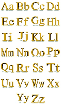 3D Times New Roman gold alphabet with shadows in a white background