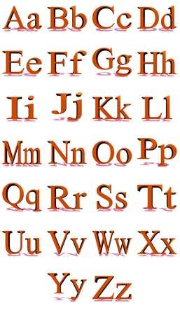 times new roman: Alfabeto Times New Roman rojo 3D con sombras en un fondo blanco