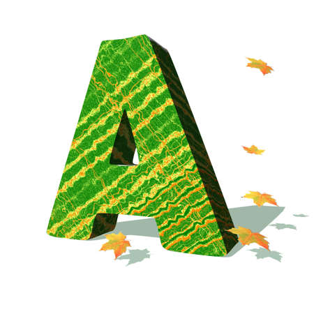 Green ecological A capital letter surrounded by few autumn falling leaves in a white background with shadows photo