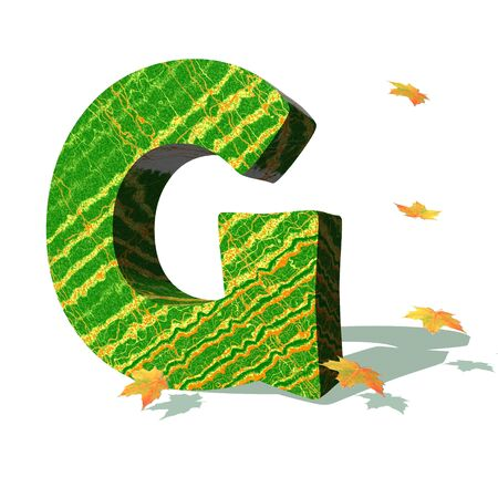 Green ecological G capital letter surrounded by few autumn falling leaves in a white background with shadows photo
