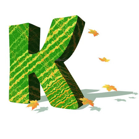 Green ecological K capital letter surrounded by few autumn falling leaves in a white background with shadows Stock Photo