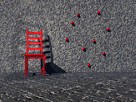 Red chair isolated in a grey room with one wall presenting red drops of blood photo