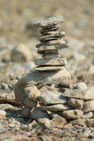 Zen stones on a desert ground Stock Photo - 9567223