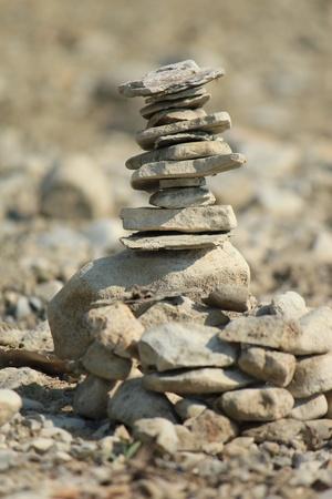 stack rock: Zen stones on a desert ground Stock Photo