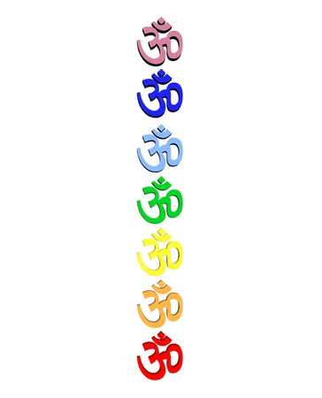 Colored aum  om in chakra column in white background