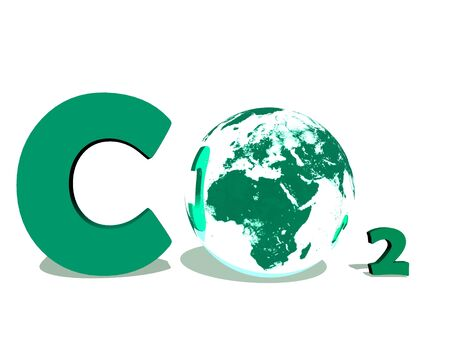 Green symbol of carbon dioxyde with earth instead of O in white background photo