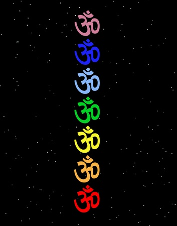 heart chakra red: Colored aum  om in chakra column in night background Stock Photo