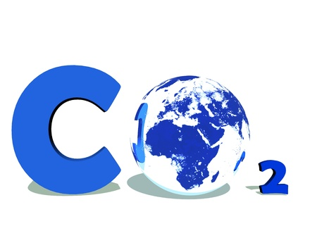 Blue symbol of carbon dioxyde with earth instead of O in white background photo