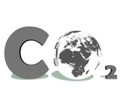 Grey symbol of carbon dioxyde with earth instead of O in white background photo