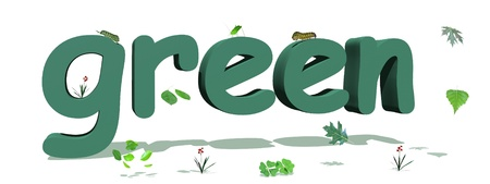 Green letters surrounded by green leaves and insects in white background Stock Photo - 9662194