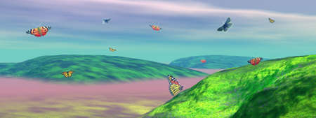 Many colored butterflies dansing upon green foggy hills by cloudy weather