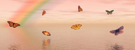 Many colored butterflies dansing upon the quiet ocean water with a rainbow behind and a pink sky Stock Photo