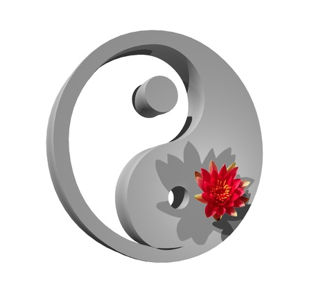 Grey yin and yang symbol with a lily flower on it in white background photo