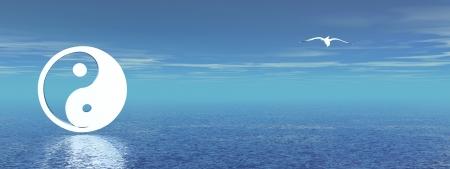 yin y yang: S�mbolo de yin y yang blanco y una gaviota en un fondo azul con Oc�ano Foto de archivo