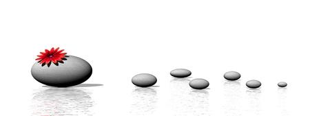 Zen stones and flower Фото со стока