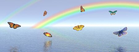 Many colored butterflies dansing upon the quiet ocean water with a rainbow behind and a blue sky photo