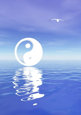White yin and yang symbol and a seagull in a blue background with ocean
