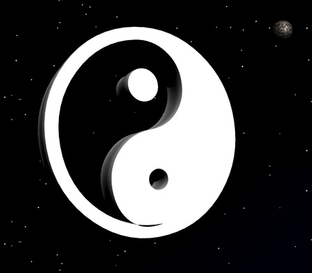 White yin and yang symbol next to the moon in the night with stars photo