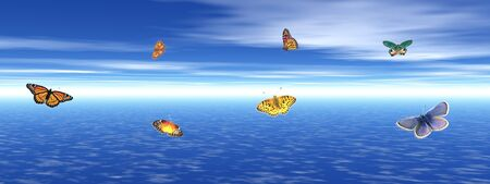 Many colored butterflies dansing upon the quiet blue ocean water by cloudy weather