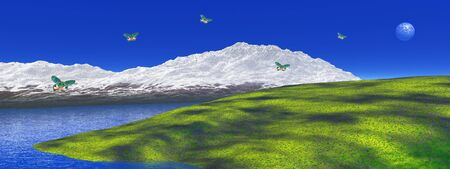 Peaceful white snowy mountain, green grass, blue lake and moon in the blue sky where colored butterflies are flying
