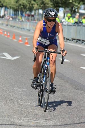 Woman cyclist at the International Triathlon 2011, Geneva, Switzerland