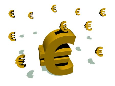 ones: Big euro piggy bank saving small ones in a white background