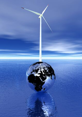 windpower: White and red wind turbine on an metallic earth upon the deep blue ocean and in cloudy sky Stock Photo