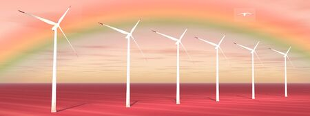 windfarm: Bird flying over wind turbines with a beautiful rainbow behind