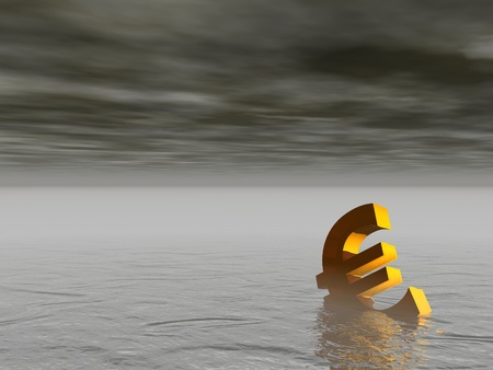 collapsed: Golden euro drowning in the grey sea by stormy weather Stock Photo