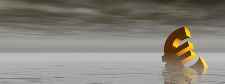 drowning: Golden euro drowning in the grey sea by stormy weather Stock Photo
