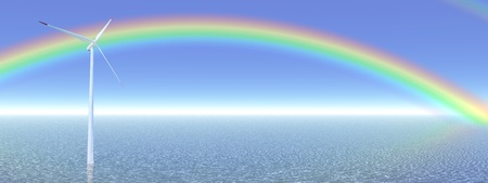 windpower: One wind turbine alone in the blue ocean in front of a beautiful rainbow