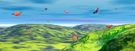 Many colored butterflies dansing upon green foggy hills by cloudy weather Stock Photo - 10203694
