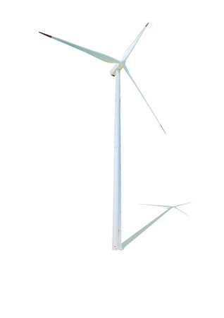 Wind turbine with its shadow in a white background