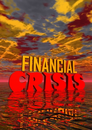 stockmarket: Red and orange capital letters for financial crisis in stormy background Stock Photo