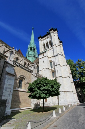 lasted: Side of protestant Saint-Peters cathedral in Geneva, Switzerland, by beautiful weather. The construction started in 1160 and lasted about one century. After that, its been modified several times, sometimes because of fire. At XVI century, when the prote