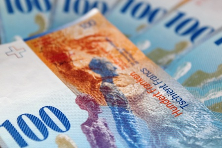 swiss franc note: One hundred swiss francs bills as background Stock Photo