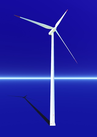 Wind turbine with its shadow in blue background photo