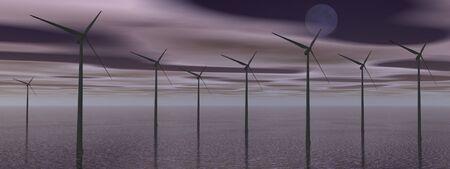 Wind turbines in the ocean by dark cloudy night photo