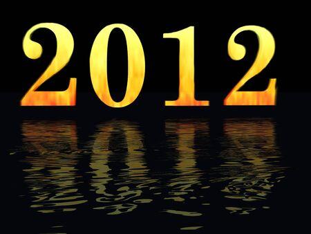 mayan prophecy: Burning 2012 by night upon ocean symbolyzing maya prophecy