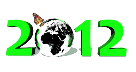 Green 2012 with earth and butterfly in white background photo