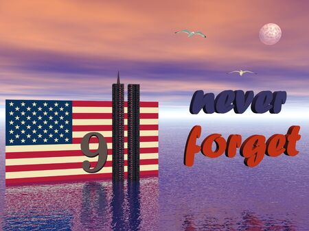 world trade center: USA flag and World Trade Center twin tower buildings 3D illustration to never forget