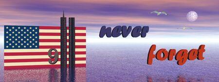 nunca: Bandera de Estados Unidos y gemelas del World Trade Center torre ilustraci�n 3D de edificios para nunca olvidar  Foto de archivo