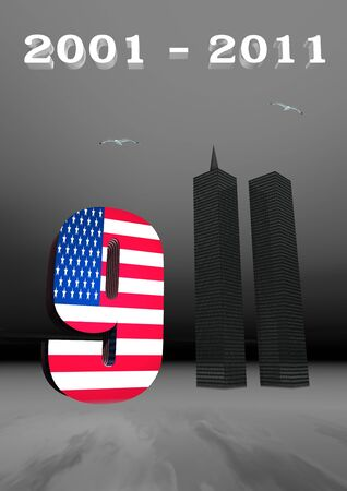 world trade center: USA flag and World Trade Center twin tower buildings for 9 - 11, 3D illustration for remembrance
