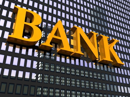 Close up of the facade of a modern building and orange sign bank