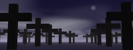 Cemetery with lot of crosses by cloudy night with full moon Stock Photo - 10732074