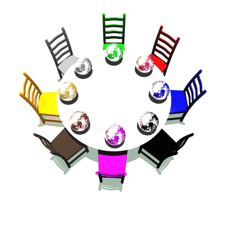 round chairs: Table and chairs with many colors for a meeting about earth Stock Photo