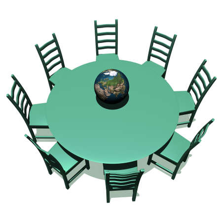 Green table and chairs for a meeting about earth photo