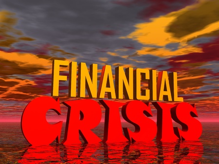Red and orange capital letters for financial crisis in stormy background photo