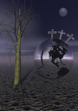 Three crosses for Golgotha on earth planet next to a dead tree by night with full moon