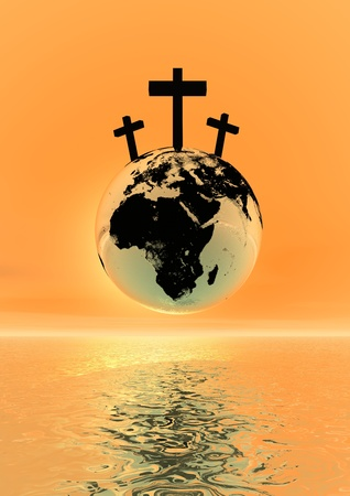 Three crosses for Golgotha on earth planet by sunset Stock Photo